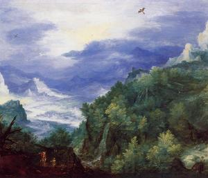 Jan Brueghel The Elder - Mountain Landscape with View of a River Valley