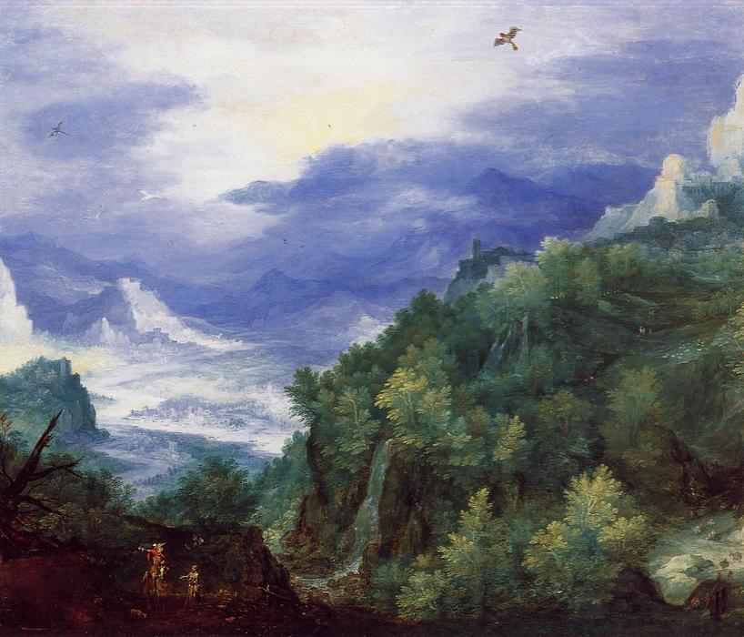 Mountain Landscape with View of a River Valley by Jan Brueghel The Elder (1568-1625, Belgium)