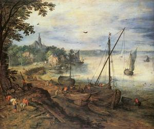 Jan Brueghel The Elder - River Landscape with Lumbermen