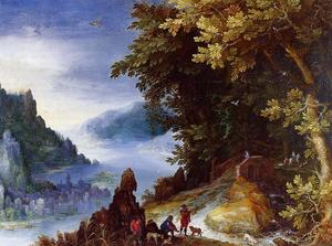 Jan Brueghel The Elder - River Landscape with Resting Travellers