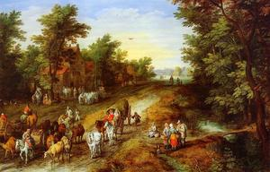 Jan Brueghel The Elder - Rustic Landscape with Inn and Travellers
