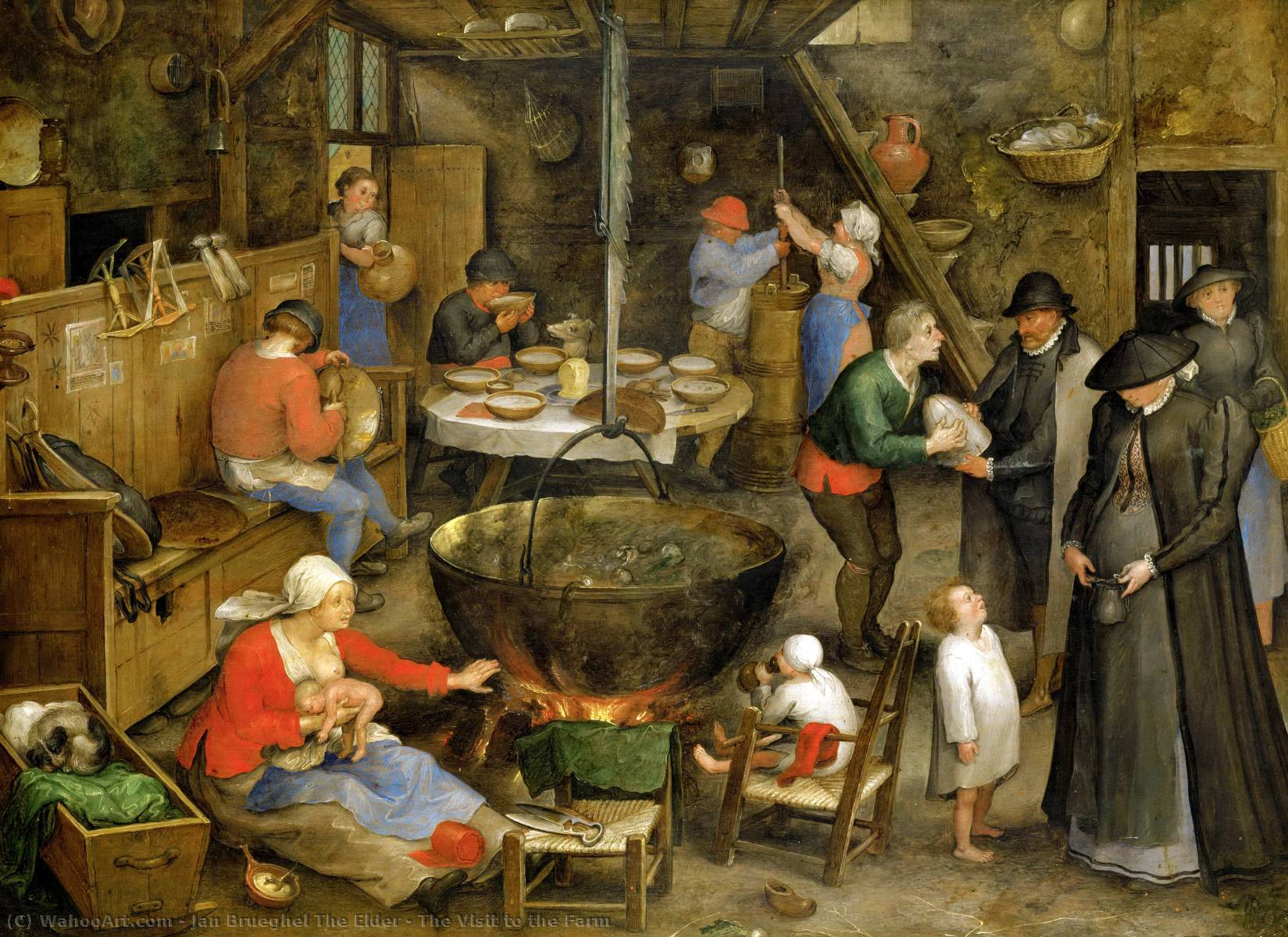 The Visit to the Farm by Jan Brueghel The Elder (1568-1625, Belgium) | Art Reproductions Jan Brueghel The Elder | WahooArt.com