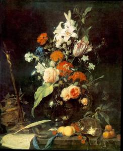 Jan Davidsz De Heem - Flower Still-life with Crucifix and Skull