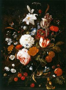 Jan Davidsz De Heem - Still-Life with Flowers in a Glass Vase and Fruit