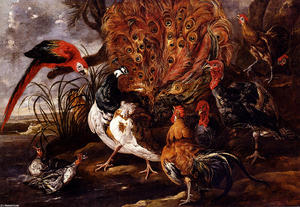 Jan Fyt (Joannes Fijt) - A Peacock In A Landscape With Roosters, Turkeys, Ducks, A Heron And A Parrot