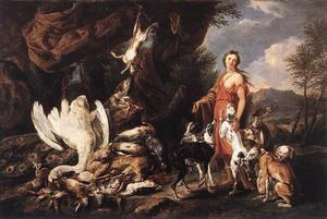 Jan Fyt (Joannes Fijt) - Diana with Her Hunting Dogs beside Kill