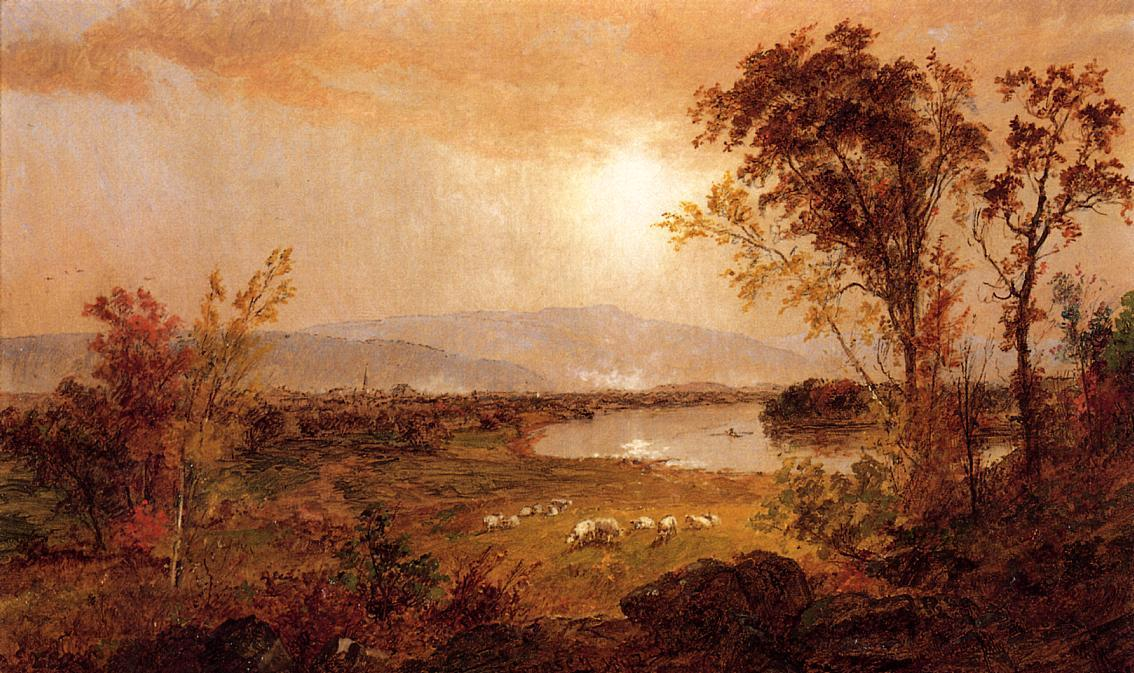 A Bend in the River by Jasper Francis Cropsey (1823-1900, United States) | WahooArt.com