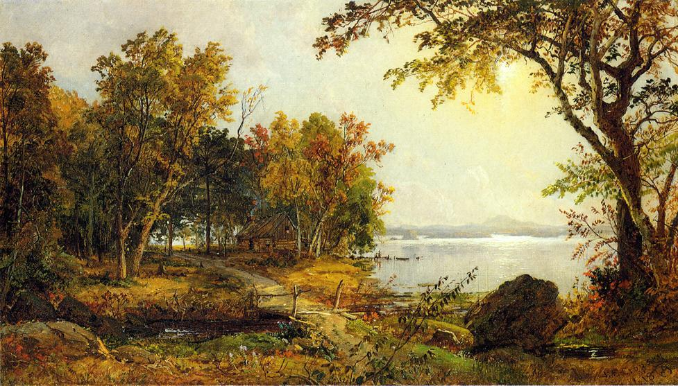 A Cabin on Greenwood Lake by Jasper Francis Cropsey (1823-1900, United States)