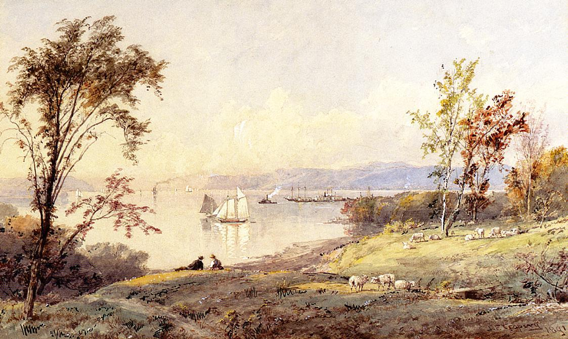 Along the Hudson by Jasper Francis Cropsey (1823-1900, United States)