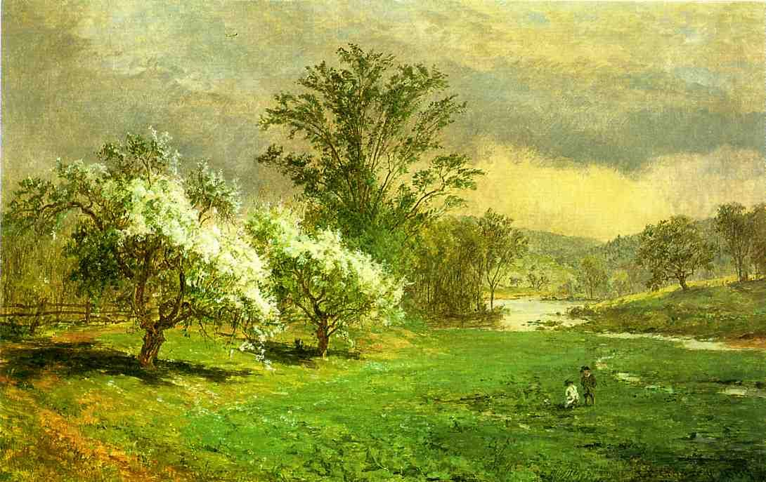 Apple Blossom time by Jasper Francis Cropsey (1823-1900, United States)