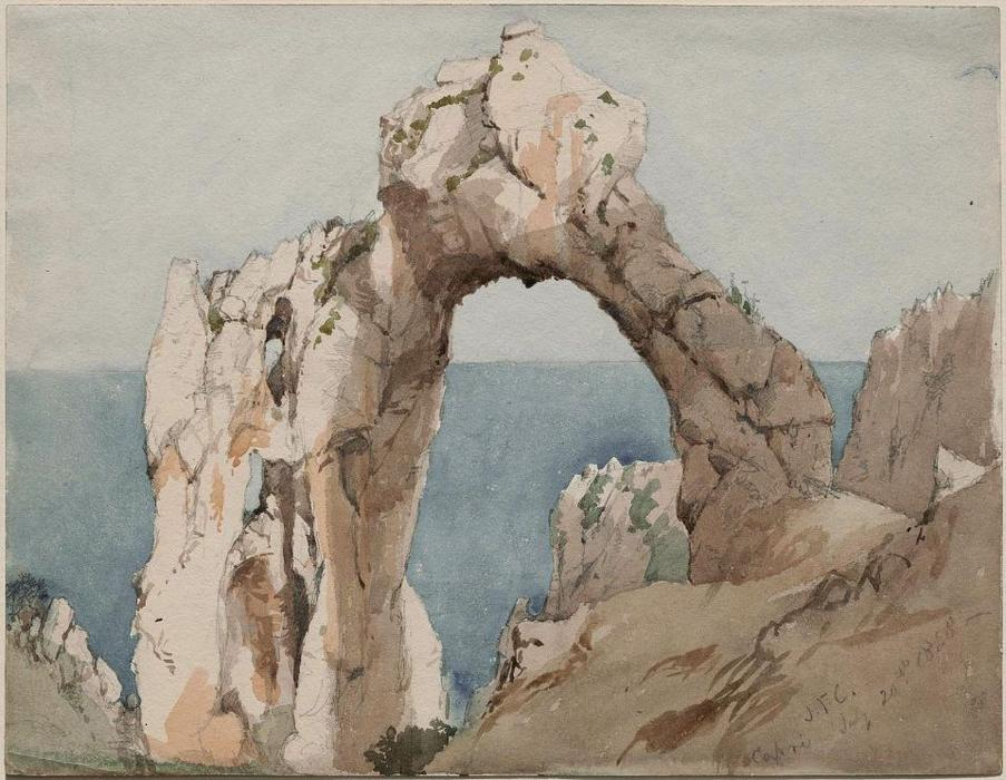 Arched Rock, Capri by Jasper Francis Cropsey (1823-1900, United States) | Oil Painting | WahooArt.com