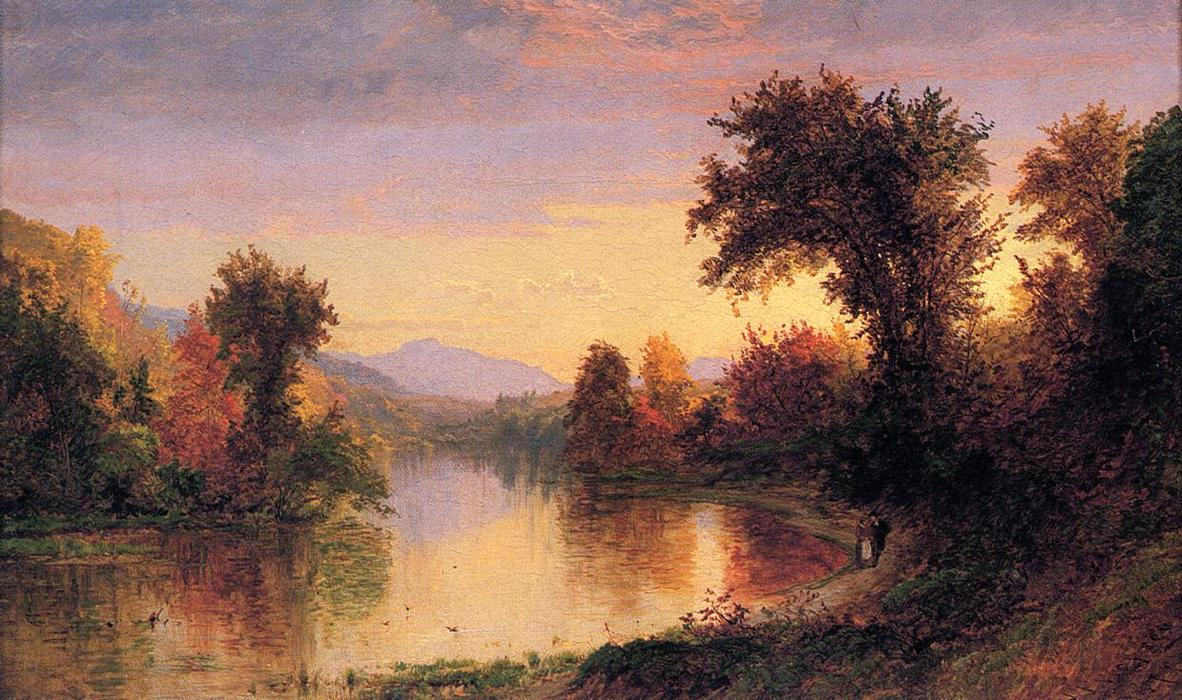Autumn by the River by Jasper Francis Cropsey (1823-1900, United States)