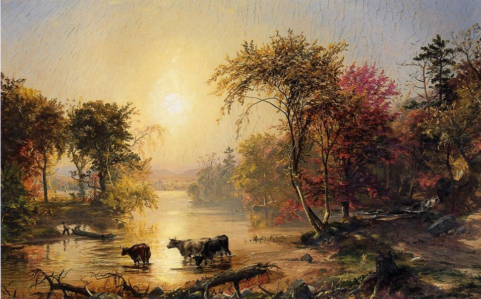 Autumn in America (aka The Susquehanna River) by Jasper Francis Cropsey (1823-1900, United States) | WahooArt.com