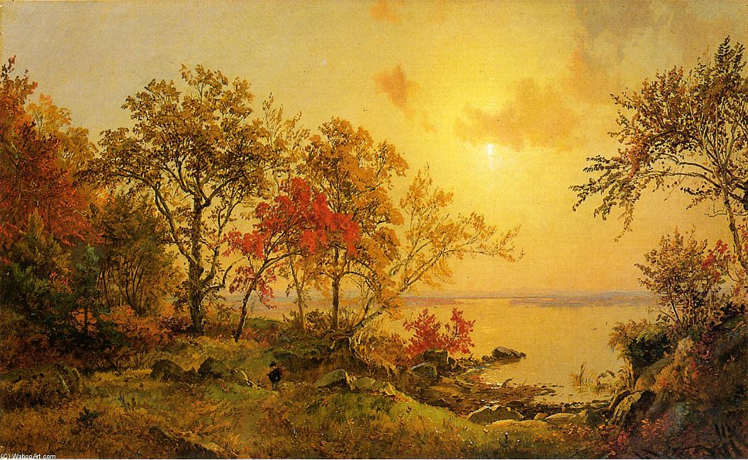 Autumn Landscape - View of Greenwood Lake by Jasper Francis Cropsey (1823-1900, United States) | Famous Paintings Reproductions | WahooArt.com