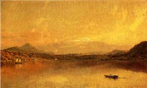 Jasper Francis Cropsey - Autumn Landscape with Boaters on a Lake