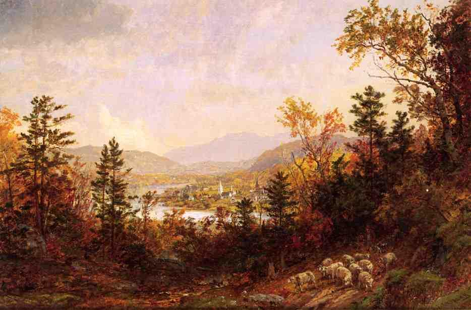 Autumn on the Hudson by Jasper Francis Cropsey (1823-1900, United States)