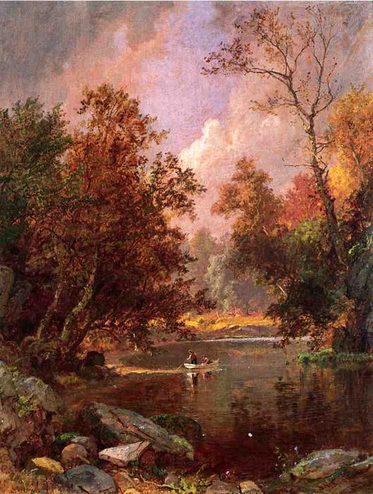 Autumn River Landscape by Jasper Francis Cropsey (1823-1900, United States) | WahooArt.com