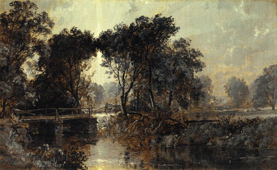 Bridge on the Wawayanda River by Jasper Francis Cropsey (1823-1900, United States)