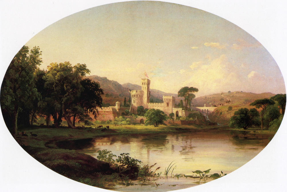 Castle by a Lake, 1855 by Jasper Francis Cropsey (1823-1900, United States) | WahooArt.com