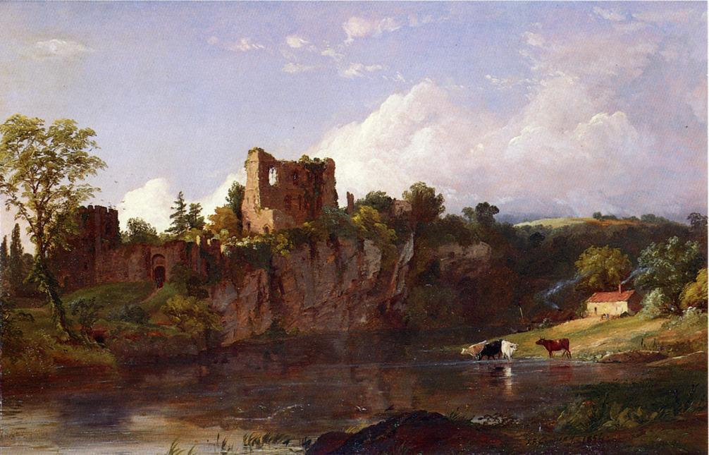 Chepstow Castle on the Wye, 1854 by Jasper Francis Cropsey (1823-1900, United States) | WahooArt.com