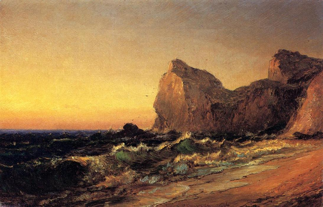 Coastal Scene, Oil On Canvas by Jasper Francis Cropsey (1823-1900, United States)