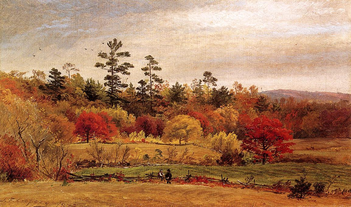 Conversation at the Fence, 1873 by Jasper Francis Cropsey (1823-1900, United States) | Famous Paintings Reproductions | WahooArt.com