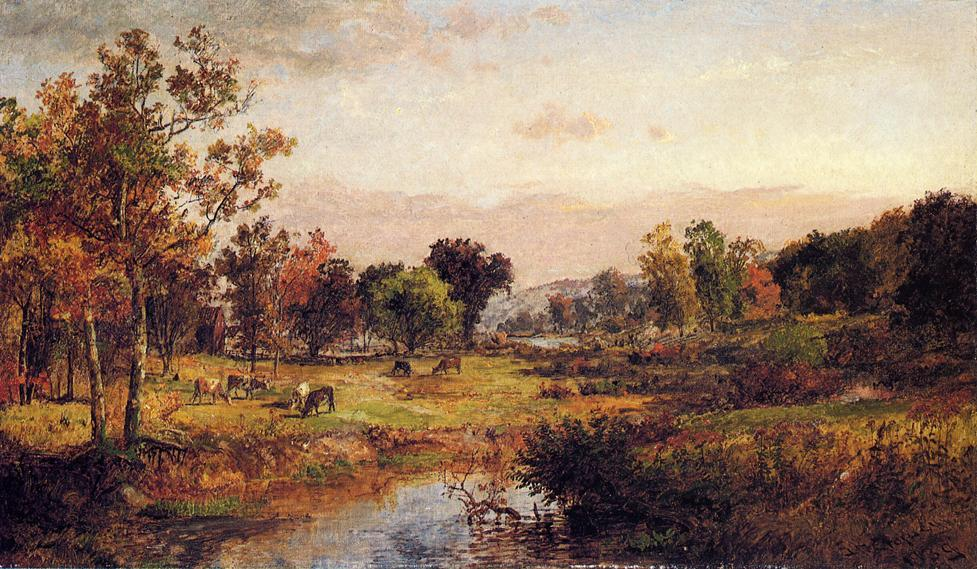 Farm Along the River by Jasper Francis Cropsey (1823-1900, United States) | Art Reproduction | WahooArt.com