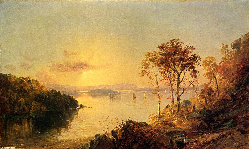 Figures on the Hudson River, 1874 by Jasper Francis Cropsey (1823-1900, United States) | WahooArt.com