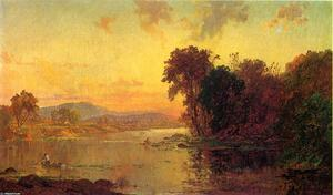 Order Art Reproduction : Fisherman in Autumn Landscape, 1879 by Jasper Francis Cropsey (1823-1900, United States) | WahooArt.com