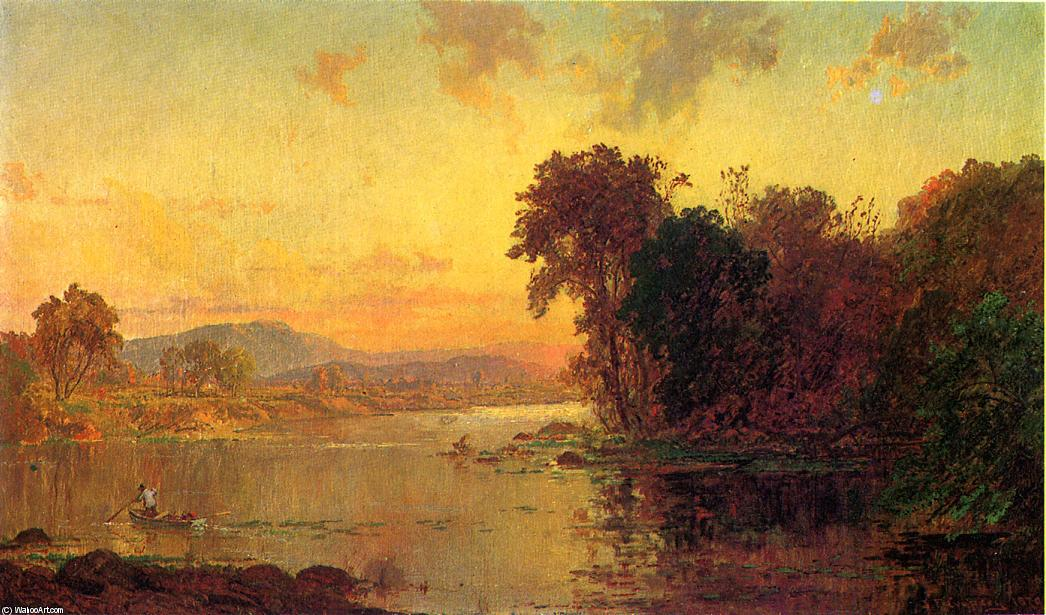 Fisherman in Autumn Landscape, Oil On Canvas by Jasper Francis Cropsey (1823-1900, United States)