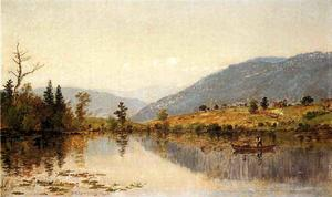 Jasper Francis Cropsey - Fishing on a Lake