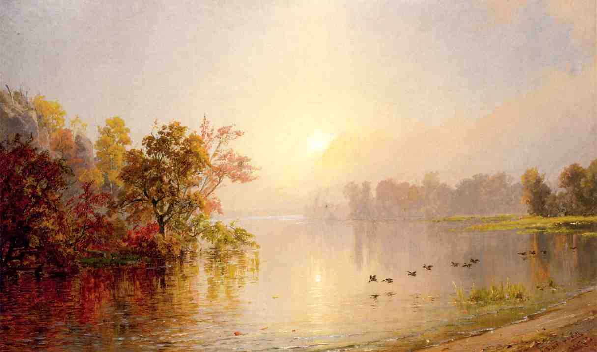 Hazy Afternoon, Autumn by Jasper Francis Cropsey (1823-1900, United States) | WahooArt.com