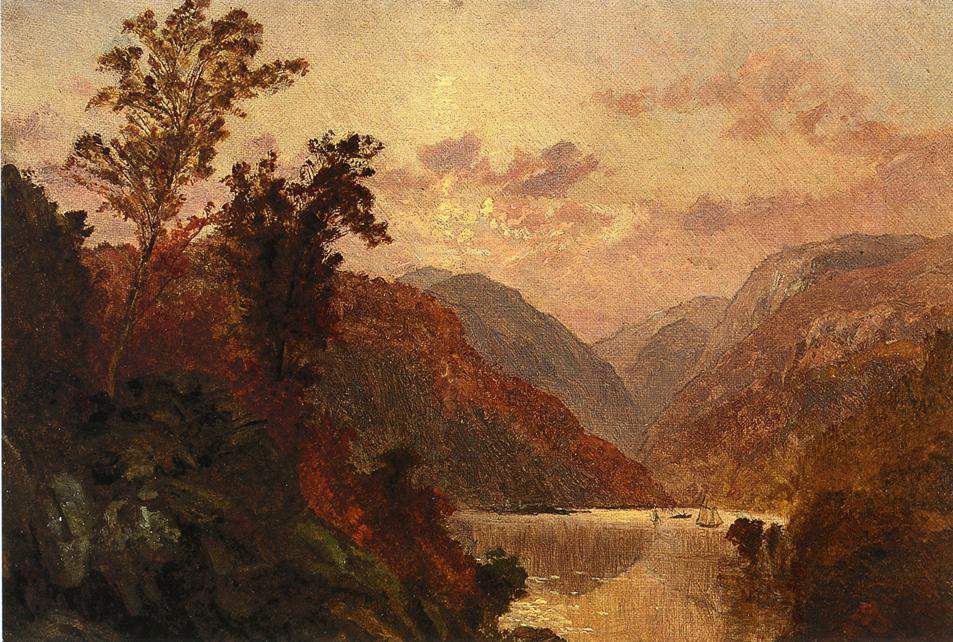 In the Highlands of the Hudson, Oil On Canvas by Jasper Francis Cropsey (1823-1900, United States)