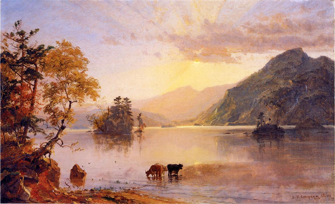 Lake George. Sun Behind a Cloud by Jasper Francis Cropsey (1823-1900, United States) | Art Reproduction | WahooArt.com