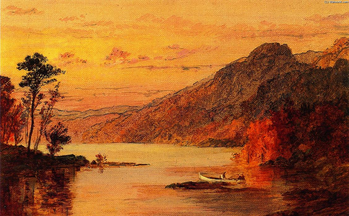 Lake Scene, Catskill Mountains, Oil On Panel by Jasper Francis Cropsey (1823-1900, United States)