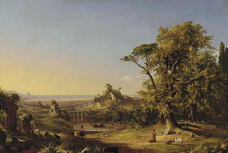 Landscapes with Figures near Rome by Jasper Francis Cropsey (1823-1900, United States)