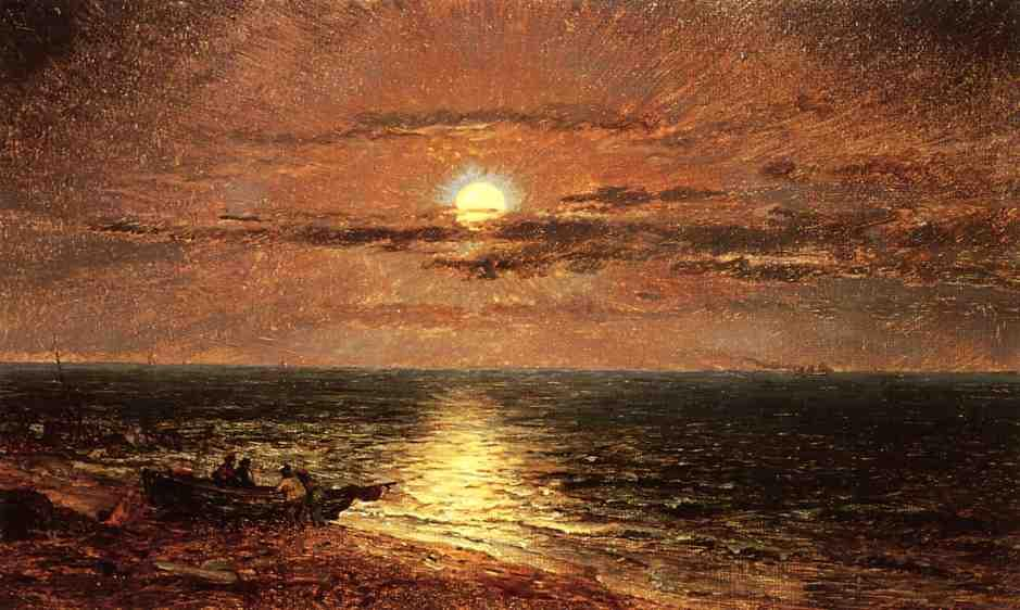 Moonlit Seascape, Oil On Canvas by Jasper Francis Cropsey (1823-1900, United States)