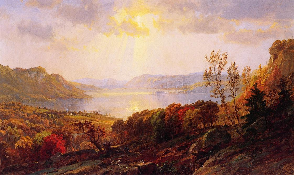 On the Hudson near West Point, Oil On Canvas by Jasper Francis Cropsey (1823-1900, United States)