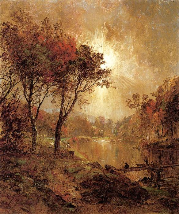 On the Ramapo River, 1888 by Jasper Francis Cropsey (1823-1900, United States) | Oil Painting | WahooArt.com