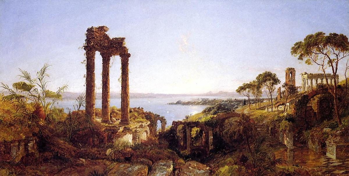 Overlookig the Bay of Naples, 1883 by Jasper Francis Cropsey (1823-1900, United States) | WahooArt.com