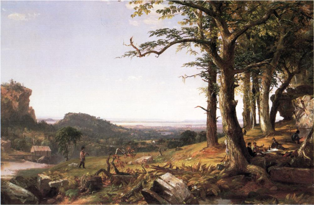 Sportsmen Nooning, Oil On Canvas by Jasper Francis Cropsey (1823-1900, United States)