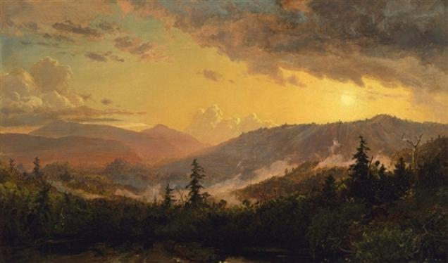 Sunset after a Storm in the Catskill Mountains, 1860 by Jasper Francis Cropsey (1823-1900, United States) | WahooArt.com