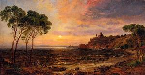 Jasper Francis Cropsey - Sunset over Lake Thrasemine