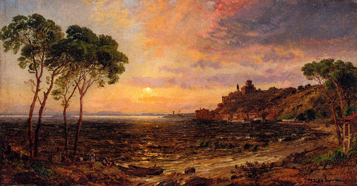 Sunset over Lake Thrasemine, Oil On Canvas by Jasper Francis Cropsey (1823-1900, United States)