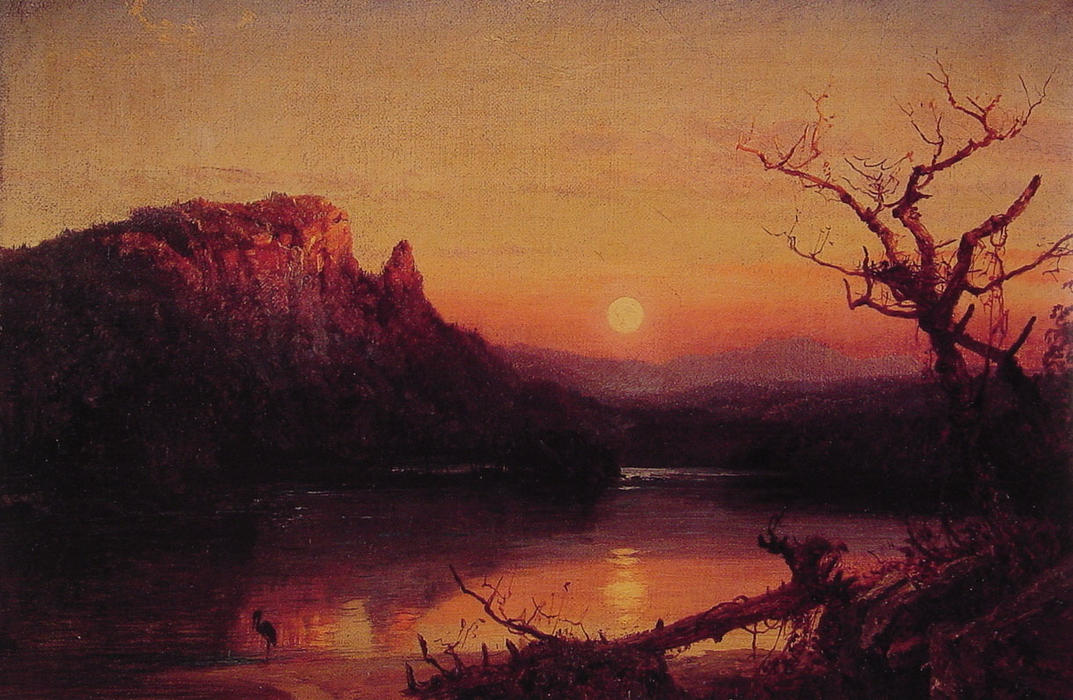Sunset, Eagle Cliff, New Hampshire by Jasper Francis Cropsey (1823-1900, United States) | WahooArt.com