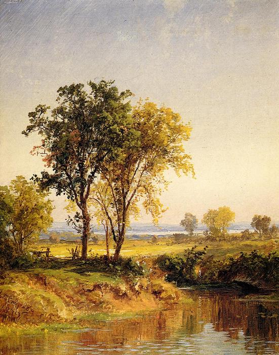 The Pond in Springtime, Oil On Canvas by Jasper Francis Cropsey (1823-1900, United States)