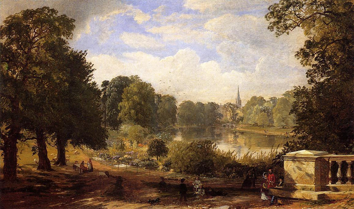 The Serptentine, Hyde Park, London, Oil On Canvas by Jasper Francis Cropsey (1823-1900, United States)