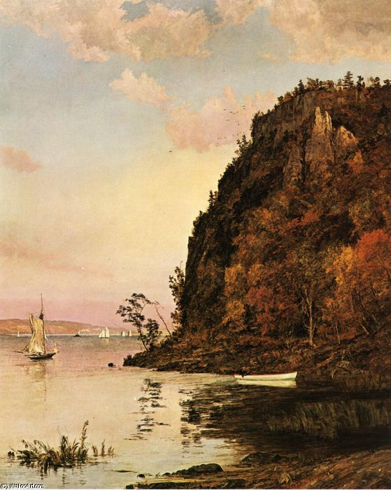 Under the Palisades, in October, Oil On Canvas by Jasper Francis Cropsey (1823-1900, United States)