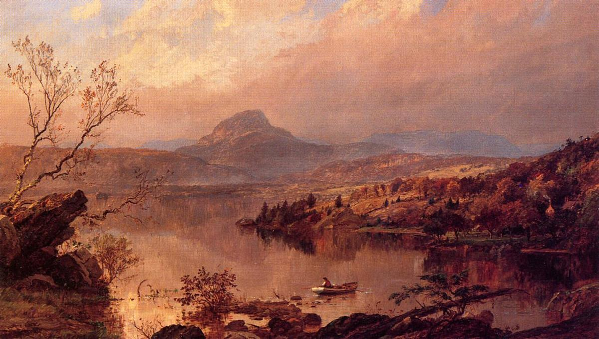 Wickham Pond and Sugar Loaf Mountain, Orange County, Oil On Canvas by Jasper Francis Cropsey (1823-1900, United States)