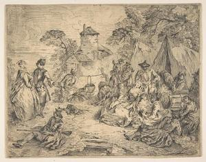 Jean-Baptiste Pater - Soldiers and Women in an Encampment